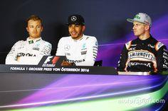 The post qualifying FIA Press Conference: Nico Rosberg, Mercedes AMG F1, second; Lewis Hamilton, Mercedes AMG F1, pole position; Nico Hulkenberg, Sahara Force India F1, third