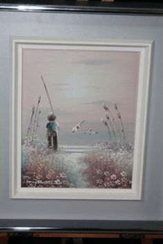 PHILIP SANDEE Oil On Canvas Signed Boy Fishing Seagulls Flowers Beautiful Sunset #Gifts