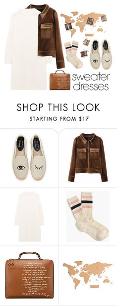 """""""Cozy and Cute: Sweater Dresses"""" by juhh ❤ liked on Polyvore featuring Soludos, MaxMara, J.Crew, Tory Burch, Polaroid, cozy, sweaterdresses and Juliajulian"""