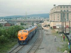 A-B-A Jersey Central lashup passing the old Scranton station.
