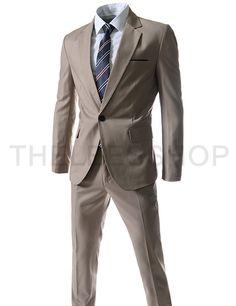 (OSS102) スリムフィット ノッチトラペル シングル ブレスト 1 ボタン ドレス スーツ セット