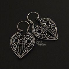 Earrings - handcrafted by Iza..Malczyk - sterling silver, black spinel & onyx