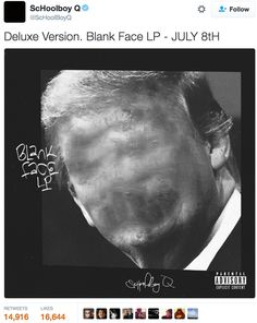 """ScHoolboy Q Reveals Deluxe and Standard Edition Covers for 'Blank Face LP' Project: With a """"Crying Jordan"""" meme alternative. Lp Cover, Cover Art, Crying Michael, Face Blur, Logo Word, Schoolboy Q, Campaign Posters"""