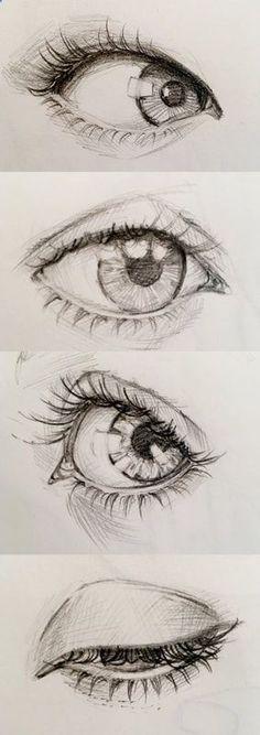 Pencil eye study - drawing realistic looking eye study (anatomical). Aya Devin Illustrations