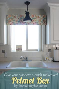 Ideas Kitchen Window Valance Diy Pelmet Box For 2019 Kitchen Window Valances, Window Cornices, Kitchen Window Treatments, Window Coverings, Kitchen Windows, Window Shutters, Custom Window Treatments, Window Blinds, Room Window
