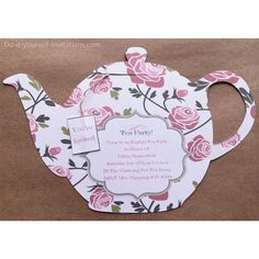 "Victorian ""Tea Pot"" Tea Party Invitations and Matching Envelope Template- White Background with Pink Roses ♥INSTANT DOWNLOAD♥ These cute-as-can-be Tea Party Invitations are easy as could be and will definitely be a homemade invitation your guests will remember! Simply choose the pattern that matches your party décor and as soon as your payment is processed they are ready for immediate download. Once you have downloaded the invitation, matching envelope and tea bag tag; you will be able to…"
