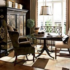 Regents Park Showhouse Southern Accents 2008 Dining Room...love all the different seating choices.