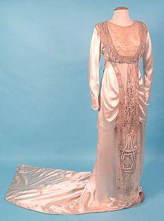 Satin wedding gown, c. 1910