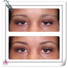 BEFORE and AFTER Semipermanent makeup. Hair strokes are tattooed for a fuller, natural finish with more of an arch to open up the eyes...