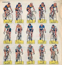 Cycling Art, Bike Art, Road Racing, Trading Cards, Competition, Tours, Vintage, Templates, Jumping Jacks
