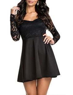 nice NuoReel Women's Lace Bodice Skater Dress (X-Large, black).  Buy it now!