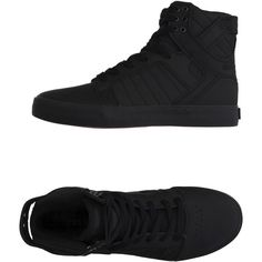Supra Sneakers ($105) ❤ liked on Polyvore featuring men's fashion, men's shoes, men's sneakers, black, mens black shoes, mens leather sneakers, mens black sneakers, mens leather shoes and mens flat shoes