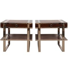 "Pair French 2-Tier Side Tables  France  1960's  Pair brown leather 2-tier side tables with drawer on polished chrome strap legs.    Price  $7,495    Condition*  Excellent    Measurements  height: 20 1/2""  depth: 15 1/2""  width/length: 21 3/4"""