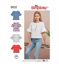 Buy Simplicity Women's Flare Sleeve Pullover Top Sewing Pattern, 8602 from our Sewing Patterns range at John Lewis & Partners. Patron Simplicity, Patron Butterick, Women's Flares, Simplicity Sewing Patterns, Modern Patterns, Love Sewing, Sewing Hacks, Sewing Tips, Sewing Crafts