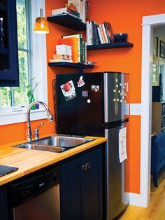Harbinger Plans   Tumbleweed Tiny House Company.Sink, countertop & fridge on opposite side of stove & washer.