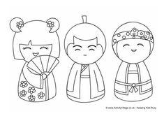Kokeshi Doll Coloring Page Boy2