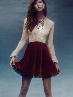 Free People V For Victorian Velvet Mini Dress