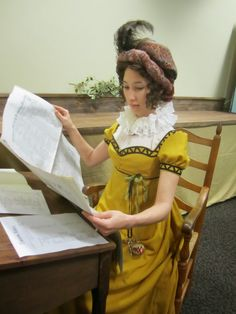 Love this yellow wool regency dress - and the ruff collar - and that turban!  From The Couture Courtesan Blog