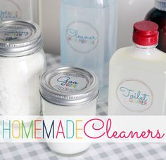 """Recipes"" for homemade, safer household cleaners PLUS cute labels to download and print to put on the bottles of cleaners"
