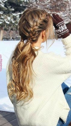 Braided Hairstyles For School, Box Braids Hairstyles, Cool Hairstyles, Hairstyle Ideas, Wedding Hairstyle, Hairstyle Braid, Hair Ideas, Casual Hairstyles, Fishtail Ponytail