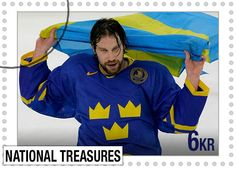 Forsberg - Team Sweden Peter Forsberg, National Treasure, Hockey Players, Athletes, The Man, Sweden, Stamps, Baseball Cards, Sports