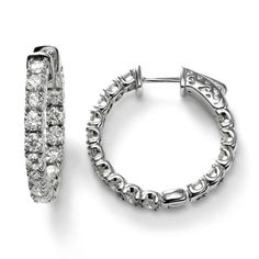 In and Out Diamond Hoops, 3 Carat, 14K White Gold