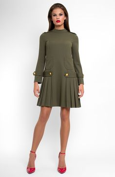 ed811cc4766 Long-sleeve military style boxy cotton dress with tucks. Hidden back zip  closure. On the photo  model is wearing a size M and is 182 cm.