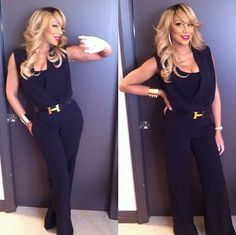 Tamar Braxton's took this instagram picture in her One by 5th & Mercer Black Jumpsuit and Hermès Belt - love it!