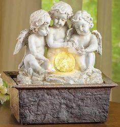 """Soothing Table Top Cherubs Water Fountain w/ Lighted Color Changing Globe 9.5""""H"""