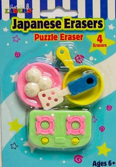 Japanese Puzzle Erasers Kitchen Assortment 3 Pack Set W/ Stove Cooking Pan Plate by JFLENTERPRISES. $1.99. Great for ages 6+. Japanese Erasers. Erasers are approx 1 inch in size. This is for 4 stove and pan assortment of Japanese Puzzle Erasers, Made in China, Great for kids over 6.