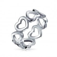 Bling Jewelry Sterling Silver Open Heart Band Ring