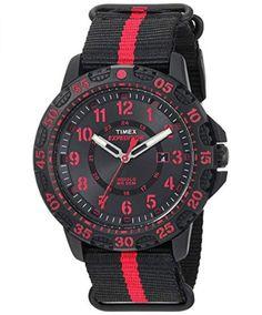 301d1f095db5 Timex Men s TW4B05500 Expedition Gallatin Black Red Nylon Slip-Thru Strap  Watch- https
