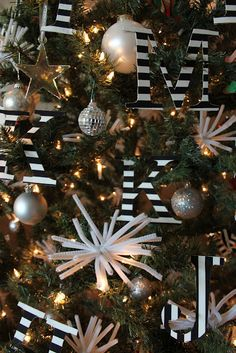 black and white inspired christmas tree holiday, pipe cleaners, letter, christmas decorations, diy ornaments, white christma, christmas trees, stripe, black