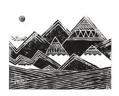 Abstract Tribal Mountains Illustration #art