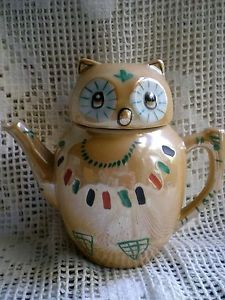 Delightful Novelty Vintage Beige Lustre Chinese OWL Decorative Teapot | eBay