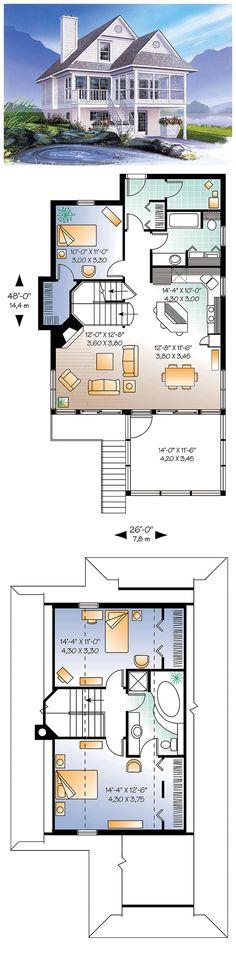 House Plan 65000 | Total living area: 1484 sq ft, 3 bedrooms & 2 bathrooms. Fireplace, abundant windows, screened porch, built-ins & wood burning fireplace. #coastalhome #houseplan