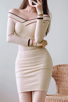 Chicloth Sexy Off Shoulder Striped Patchwork Knitted Dress Bodycon Dresses – The Best Ideas Simple Dresses, Sexy Dresses, Cute Dresses, Casual Dresses, Short Dresses, Fashion Dresses, Cute Outfits, Bandage Dresses, Ball Dresses
