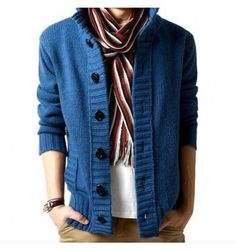 The Cole Knit Cardigan Blue #mensfashion #mensstyle
