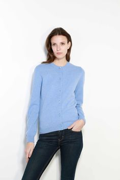 Lambswool Womens Iceberg Round Neck Cardigan In Iceberg Knitwear, Cashmere, Clothes, Tops, Women, Fashion, Outfits, Moda, Cashmere Wool
