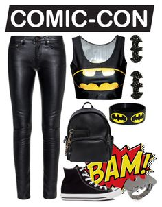 """ComicCon: Batman"" by fashion-frenzy101 ❤ liked on Polyvore featuring Yves Saint Laurent, Converse, Dsquared2, Noir, batman, comic, comiccon and comicconfashion"