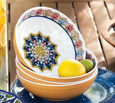 Talavera Melamine Serve Bowls #potterybarn  Need this collection for outdoor use!