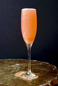 A compelling combination of rhubarb syrup and sparkling wine, this drink is the perfect match for warmer weather.