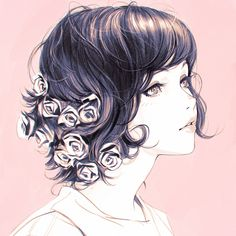 Bara by Kuvshinov-Ilya on DeviantArt. Sweet and peaceful, very cute, very elegant. The flowers in her hair are the best. :) Girl, pink, soft, Illustration