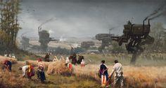 1920 - scythe, Jakub Rozalski on ArtStation at https://www.artstation.com/artwork/L3RPP
