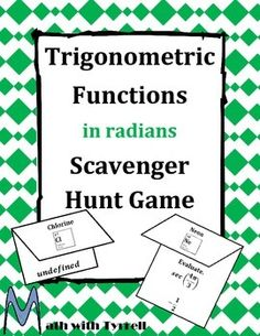 I'm using this scavenger hunt the first week of school to review radians with my calculus classes.  Students have so much FUN with this activity and I can gauge students' understanding.