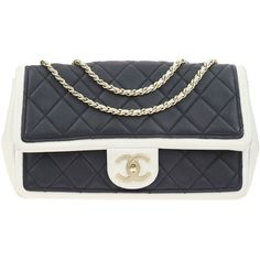 Pre-owned Chanel Quilted Lambskin Graphic Black & White Medium Flap... ($1,950) ❤ liked on Polyvore featuring bags, handbags, black white handbag, chanel handbags, kiss-lock handbags, chanel and locking purse