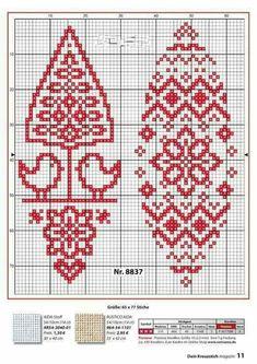 Dmc Cross Stitch, Cross Stitch Bookmarks, Cross Stitch Borders, Modern Cross Stitch, Cross Stitching, Cross Stitch Christmas Ornaments, Christmas Embroidery, Christmas Knitting, Christmas Cross