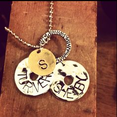 Hand stamped kids names with last name initial, mothers necklace