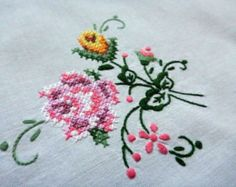Vintage white cotton square tablecloth with floral - roses embroidery hand embroidered table cloth handmade cross stitch