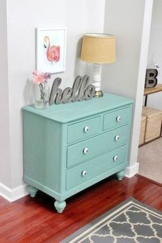 Meet Pearl: Chalk Paint Dresser Makeover - Dresser - Ideas of Dresser - Dresser Makeover With Martha Stewart's Vintage Decor Chalk Paint. The color is called Eucalyptus and it's from Martha Stewart's Vintage Decor chalk paint line. Refurbished Furniture, Paint Furniture, Shabby Chic Furniture, Furniture Projects, Furniture Makeover, Vintage Furniture, Funky Furniture, Furniture Design, Aqua Painted Furniture